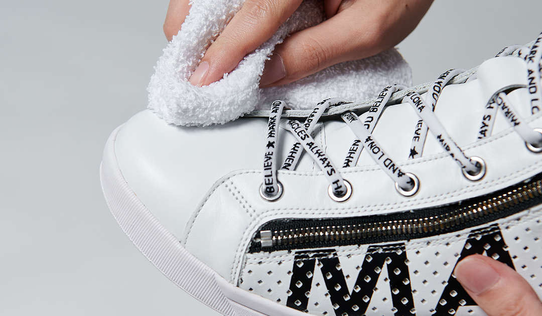 For the best results, first remove any excess dirt or residue from the shoe surface.